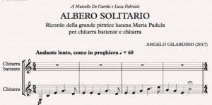 prime battute del brano Albero solitario composto dal maestro di Vercelli Angelo Gilardino per il duo potentino Luca Fabrizio e Marcello De Carolis per chitarra battente e chitarra classica