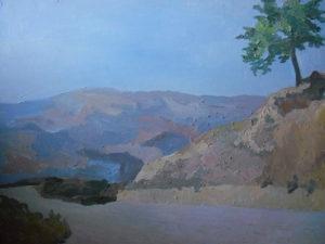 immagine del quadro albero solitario della pittrice lucana Maria Padula dipinto a Montemurro (provincia di Potenza, Basilicata)