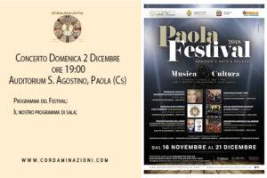 Concerto a Paola, provincia di cosenza, calabria, del duo musicale cordaminazioni specializzato in chitarra classica, chitarra battente, mandolino, mandola, cuatro, charango e cavaquinho. Il duo è composto da Luca Fabrizio e Marcello De Carolis.