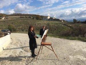 Anna rita Del Piano e Sergio Santalucia sul set del videoclip albero solitario a Montemurro