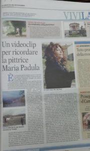 Articolo, sulla Gazzetta del Mezzogiorno, del videoclip di Albero Solitario - Ricordo della pittrice lucana Maria Padula, scritto da Angelo Gilardino per il duo Cordaminazioni
