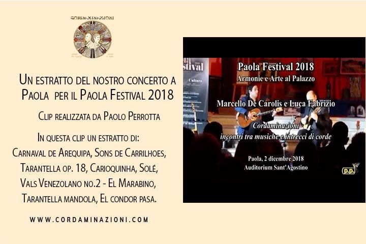 Video del concerto di chitarra battente chitarra classica mandolino mandola cuatro charango e cavaquinho del duo Cordaminazioni per il Paola festival 2018