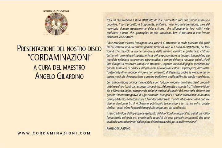 Gilardino presenta il lavoro discografico Cordaminazioni del duo Fabrizio - De Carolis