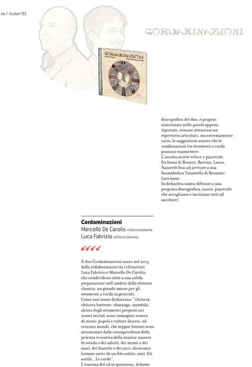 La rivista chitarristica Guitart recensisce il disco Cordaminazioni di Luca Fabrizio e Marcello De Carolis