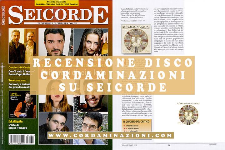 La rivista Seicorde del numero 138 recensisce cordaminazioni di Luca Fabrizio e Marcello De Carolis