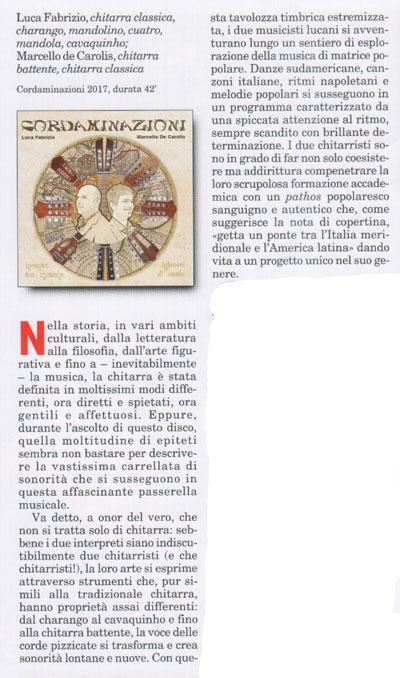 recensione del disco cordaminazioni di Luca Fabrizio e Marcello De Carolis sulla rivista chitarristica seicorde